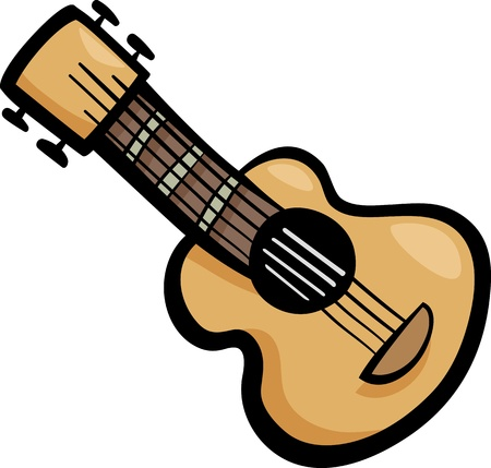 acoustic ukulele: Cartoon Illustration of Acoustic Guitar Ear Clip Art