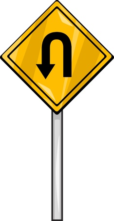 u turn sign: Cartoon Illustration of U Turn Sign Clip Art Illustration