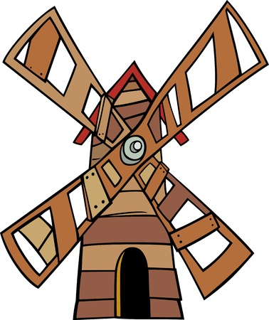 Cartoon Illustration of Wooden Windmill Clip Art