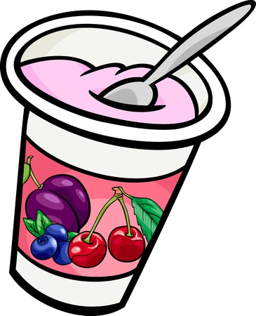 Cartoon Illustration of Fresh Fruit Yogurt with Spoon Clip Art