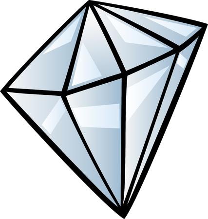 diamond clip art: Cartoon Illustration of Diamond Gem Stone Clip Art