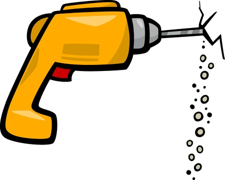 electric drill: Cartoon Illustration of Electric Drill Clip Art