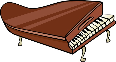 grand piano: Cartoon Illustration of Piano or Grand Piano Clip Art