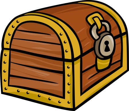 locked: Cartoon Illustration of Treasure Chest Clip Art Illustration