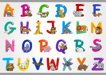 Cartoon Illustration of Colorful Alphabet Letters Set from A to Z with Funny Animals Vector