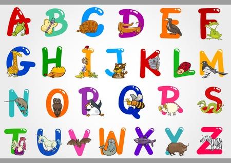 capitel: Ilustración de dibujos animados de letras de colores Conjunto del alfabeto de la A a la Z con Funny Animals Vectores
