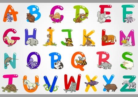 動物: 多彩字母設置從A到Z與搞笑動物卡通插圖 向量圖像