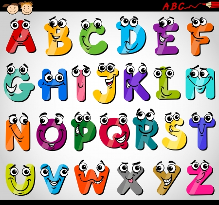 Ilustração dos desenhos animados do alfabeto de letras maiúsculas engraçado para educação de crianças