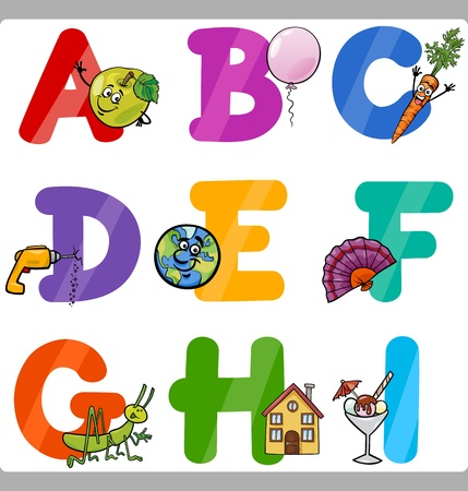 typeset: Cartoon Illustration of Funny Capital Letters Alphabet with Objects for Language and Vocabulary Education for Children from A to I Illustration