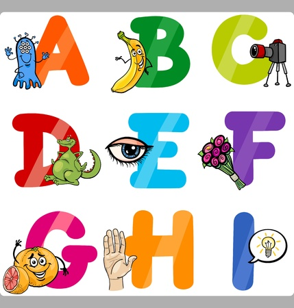 vocabulary: Cartoon Illustration of Funny Capital Letters Alphabet with Objects for Language and Vocabulary Education for Children from A to I Illustration