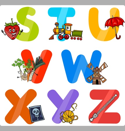 vocabulary: Cartoon Illustration of Funny Capital Letters Alphabet with Objects for Language and Vocabulary Education for Children from S to Z