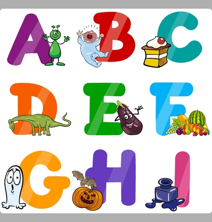 Cartoon Illustration of Funny Capital Letters Alphabet with Objects for Language and Vocabulary Education for Children from A to I Vector