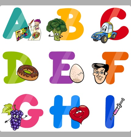 Cartoon Illustration of Funny Capital Letters Alphabet with Objects for Language and Vocabulary Education for Children from A to I Stock Vector - 21590742