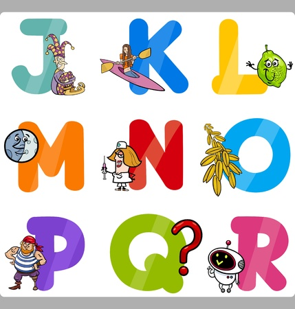Cartoon Illustration of Funny Capital Letters Alphabet with Objects for Language and Vocabulary Education for Children from J to R Stock Vector - 21590745