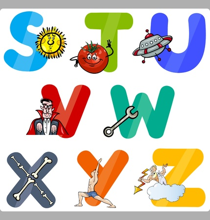 Cartoon Illustration of Funny Capital Letters Alphabet with Objects for Language and Vocabulary Education for Children from S to Z Vector