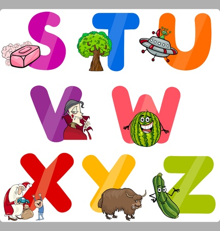 children s book: Cartoon Illustration of Funny Capital Letters Alphabet with Objects for Language and Vocabulary Education for Children from S to Z