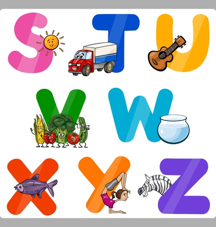 letter a z: Cartoon Illustration of Funny Capital Letters Alphabet with Objects for Language and Vocabulary Education for Children from S to Z