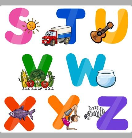 Ilustraci�n de dibujos animados de Funny las may�sculas del alfabeto con objetos para Lenguaje y Educaci�n Vocabulario para Ni�os de la S a la Z