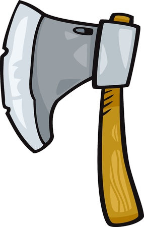 ax: Cartoon Illustration of Axe or Ax Clip Art
