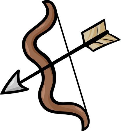 Cartoon Illustration of Bow and Arrow Clip Art Vector