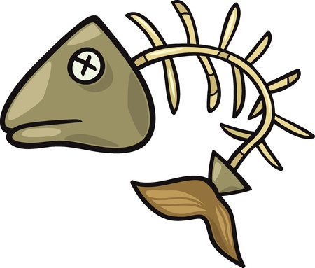 Cartoon Illustration of Fishbone or Fish Skeleton Clip Art Иллюстрация