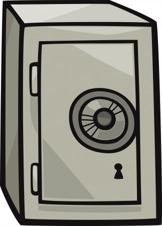 Cartoon Illustration of Metal Safe Clip Art