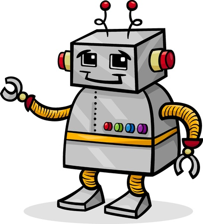 droid: Cartoon of Cute Robot or Droid Illustration
