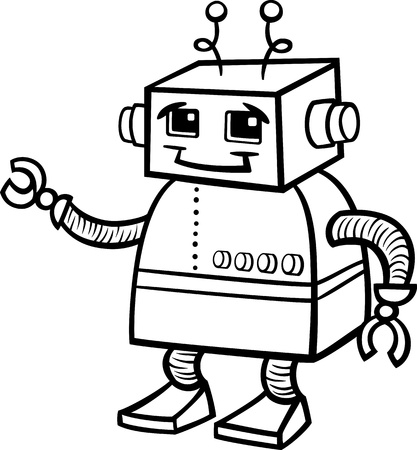 Black and White Cartoon of Cute Robot or Droid for Children to Coloring Book Vector
