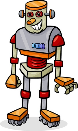 Cartoon Illustration of Cheerful Robot Vector