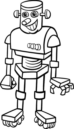 Black and White Cartoon Illustration of Cheerful Robot for Children to Coloring Book Vector