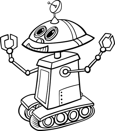 droid: Black and White Cartoon Illustration of Funny Robot  for Children to Coloring Book