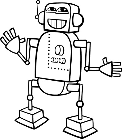 Black and White Cartoon Illustration of Happy Robot for Children to Coloring Book Vector