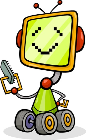 micro chip: Cartoon Illustration of Happy Robot with Micro Chip or Microprocessor