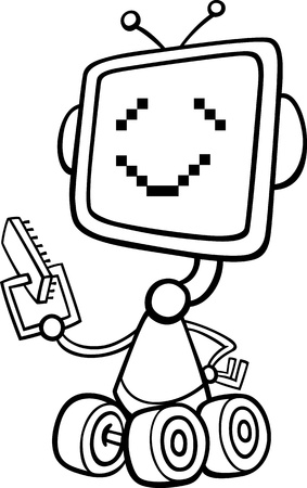 Black and White Cartoon Illustration of Happy Robot  with Microchip or Microprocessor for Children to Coloring Book Vector