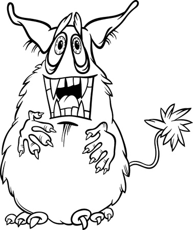 bogie: Black and White Cartoon Illustration of Funny Monster or Fright or Bogie for Children for Coloring Illustration