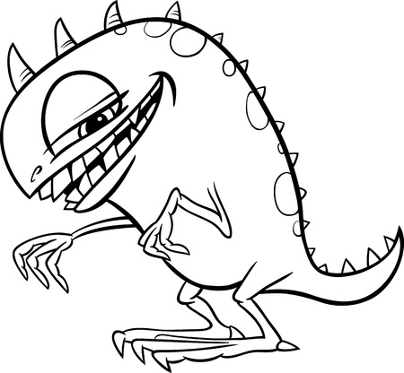 Black and White Cartoon Illustration of Funny Monster or Fright or Bogie for Children for Coloring Vector
