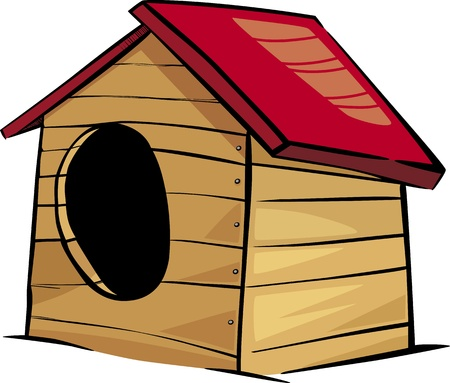 in the dog house: Cartoon Illustration of Doghouse or Kennel Clip Art