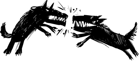 aggressive: Illustration of Two Angry Fighting Wolves Baring their Teeth Illustration