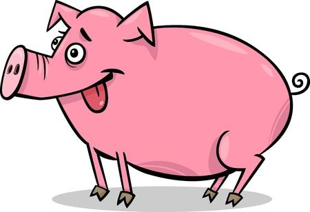 cerdo caricatura: Ilustración de dibujos animados de cerdo lindo Farm Animal