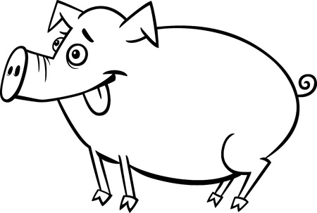 Black and White Cartoon Illustration of Cute Pig Farm Animal for Children to Coloring Vector