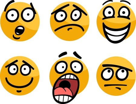skeptic: Cartoon Illustration of Funny Emoticon or Emotions and Expressions like Sad, Happy, Fear or Skeptic