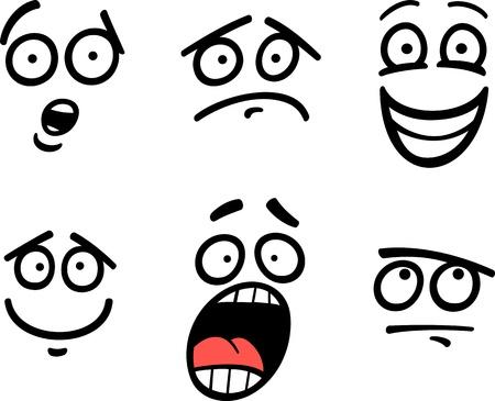재미 있은 이모티콘이나 슬픈, 행복, 공포 또는 회의론자와 같은 감정과 표현의 만화 그림