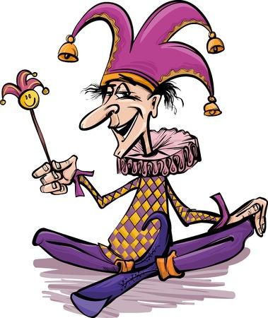 harlekijn: Cartoon illustratie van grappige Court Jester of Joker