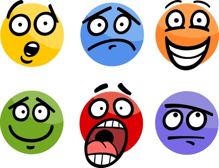 blissful: Cartoon Illustration of Funny Emoticon or Emotions and Expressions like Sad, Happy, Fear or Skeptic