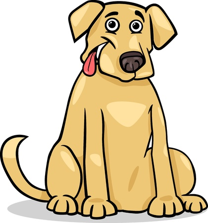 Cartoon Illustration of Funny Purebred Labrador Retriever Dog Vector