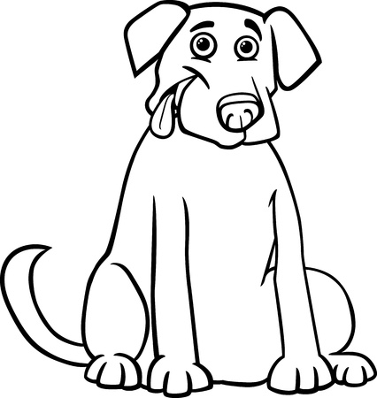 Black and White Cartoon Illustration of Funny Purebred Labrador Retriever Dog for Children to Coloring Book Vector