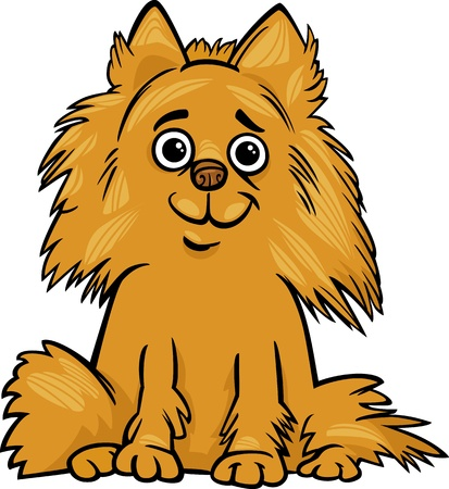 shaggy: Cartoon Illustrazione della Cute Shaggy razza Pomeranian Dog