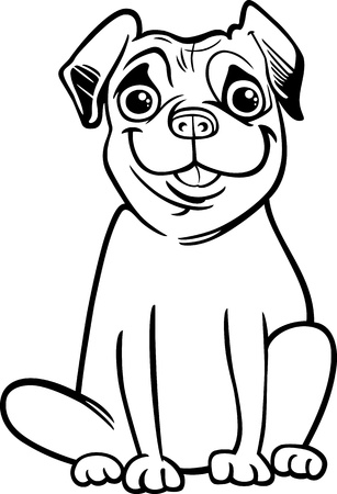 Black and White Cartoon Illustration of Cute Purebred Pug Dog for Children to Coloring Book Vector