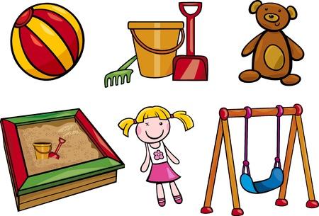 sandbox: Cartoon Illustration of Toys Objects for Children Clip Arts Set