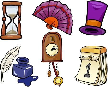 cuckoo clock: Cartoon Illustration of Retro Objects Clip Art Set Illustration